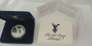 1987 Mexico 1 oz Silver Libertad Proof with Box & COA