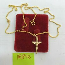 Gold Authentic 18k saudi gold cross necklace 16 inches chain