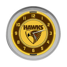 Licensed AFL Hawthorn Hawks Glass NEON Light up Clock Man Cave Aussie Rules