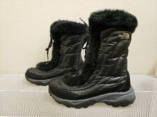 The North Face Nuptse Faux Fur Ii Girls Shiny Black/Black Winter Boots Apjy Sz 2