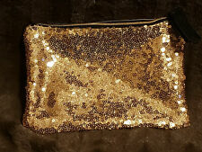 Ipsy Gold Sequin Night Out Town Elegant Purse Clutch Makeup Cosmetic Travel Bag