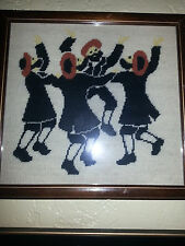 Handmade NeedlePoint Vintage Judaica Wall Decoration Happy Rabbis Dancing