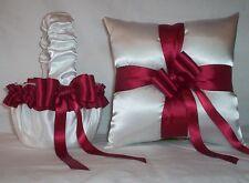 WHITE SATIN / CANDY APPLE RED TRIM FLOWER GIRL BASKET & RING BEARER PILLOW