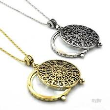 "2 PCS Gold & Silver Magnifying Glass Filigree Pendant 31"" Necklaces Set SJ010GS"