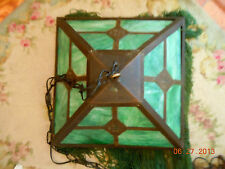 ANTIQUE Tiffany Style Hanging Lamp/ Shade With Beaded Glass Fringe!