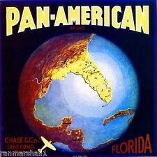 Lake Como Florida Pan-American Airplane Orange Citrus Fruit Crate Label Print