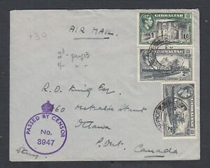 GIBRALTAR 1944 WW2 MULTIPLE ISSUES ON CENSORED AIRMAIL COVER TO OTTAWA CANADA