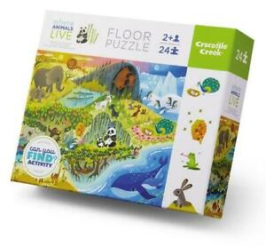 NEW Crocodile Creek Where Animals Live Floor Puzzle 24pc - Childrens Puzzle