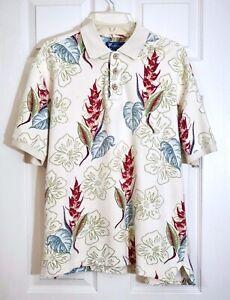 Island Dry Goods Men's Short Sleeve Hawaiian Floral Polo Shirt, Multicolor, XL
