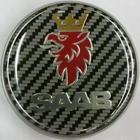 SAAB CARBON FIBRE 68mm BOOT REAR TRUNK BADGE Emblem 2 PIN 93 95 9-3 9-5 12844161