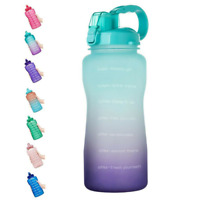 64 OZ Gallon Motivational Water Bottle with Time Marker & Straw-BPA Free Da,Gym