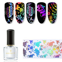 2 Set 4*100cm Holo Starry Nail Art Foils Rose Flower Lace 6ml Clear Foil Glue