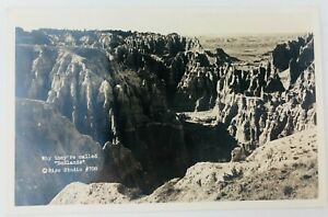 Vintage Badlands National Park South Dakota SD RPPC Why They're Called Badlands