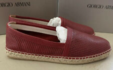 New $495 Giorgio Armani Men Leather Espadrille Shoes Red 12 US/11 UK X2S018