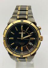 Seiko SKA366 Mens Black TiCN Plated Gold Tone Kinetic Skeleton Display Watch