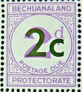BECHUANALAND 1961 SG D8c 2c. SURCHARGE ON 2d. TYPE II POSTAGE DUE - VIOLET - MNH