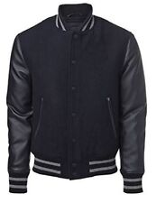 Original US Windhound College Jacke schwarz mit schwarzen Echtleder Ärmel L