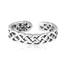 Open Cable Braid Toe Ring Genuine Sterling Silver 925 Adjustable Jewelry Gift