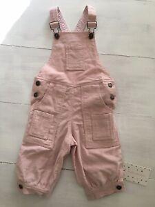🤍 NWT Designer   Stella Phoenix  Adorable Pink Corduroy Overalls • Girls Size 2