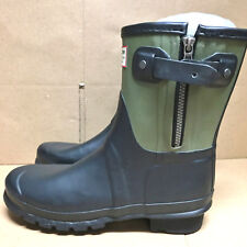 Hunter Limited Rag & Bone Black-Green Zipper Rain Boots US6 EU37 Gummistiefel