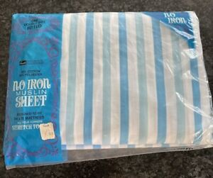 Vintage Grant's NEW Turquoise Striped fitted DOUBLE Muslin bed sheet bedsheet