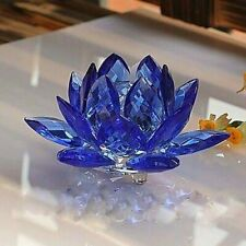 Amlong Crystal 3 Inch Sapphire Blue Lotus Flower Feng Shui Home Decor With Gift