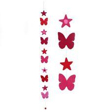 Butterfly decoration wall hang reds pinks felt garland stars