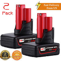 2 PACK 12V For Milwaukee 48-11-2440 M12 XC 4.0Ah Lithium Ion Battery 48-11-2401