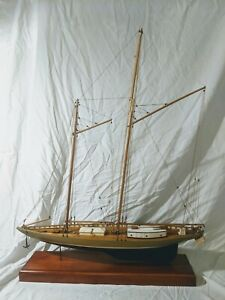 "35"" Vintage detailed Wooden Schooner Ship Display Model Yacht 2Mast Boat w/Inlay"