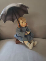 Antique Vintage MJ Hummel Goebel Germany Porcelain & Soft Body Umbrella Girl