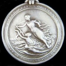SCARCE U.S. COAST GUARD SILVER LIFESAVING BRAVERY MEDAL IN CASE          -01