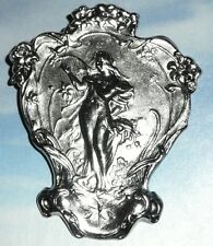 """Pretty Maiden Large Metal Shank Button 2"""" x 2-1/2"""" Antique Silver Finish"""