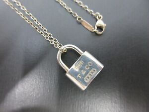 Authentic Tiffany & Co. 1837 Padlock Necklace 925 Sterling Silver Good 96670