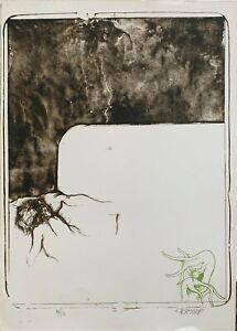 Bruno Bruni litografia con battuta Nudo disteso 60x45 firmato numerato '68