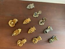 "Set/8: ""Antique Victorian Christmas Tree Candle Holder Clips"", Gold Patina Metal"