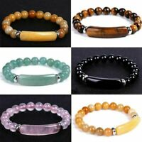 Handmade Mixed Natural Gemstone Round Beads Stretchy Bracelet Fashion Jewelry