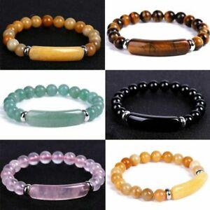 Handmade Mixed Natural Gemstone Round Beads Stretchy Bracelet Fashion Jewelry