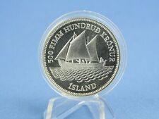 Island 500 Kronen 1986 100 Jahre isländische Banknoten Silber *PP/Proof*