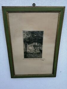 Pericles Menin (Venice, 1880 1944) Etching On Silk Signed