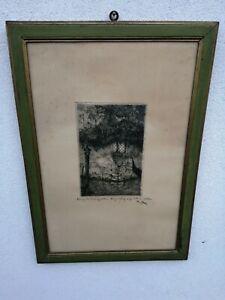 Pericle Menin (Venezia, 1880 1944) Acquaforte su seta firmata
