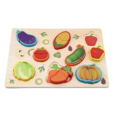 Wooden Puzzles Jigsaw Vegetables Animals Matching Board Toy Kids Learning SM