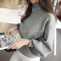 Women's Lantern Sleeve Cardigan Knitted Sweater Jumper Knitwear Outwear Top L5O0