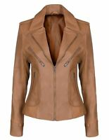 Ladies Real Leather Tan Biker Style Fashion Jacket Size UK 8-18