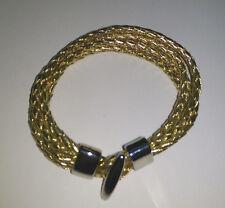 Ladies Gold Four Strand Leather Bracelet
