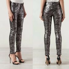 New 7 For All Mankind $295 Skinny Womens Pants Floral Silver Sequin 23-24