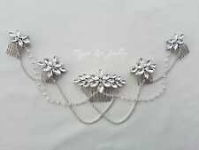 Bridal wedding head piece Large silver sparkly Diamante updo back chains drapes