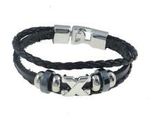 Leather Bracelet Unisex Celebrity Surfer Tribal Goth Friendship Black B30