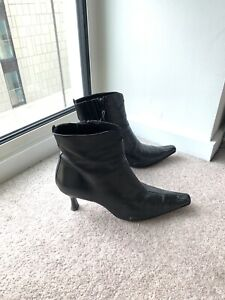 Russel & Bromley Kitten Heel Leather Boots Pointed Toe - Size 5.5 Vintage