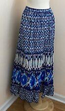 Nice Lane Bryant Blue Abstract Cotton Elastic Waist Skirt Size 22/24