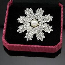 Fashion Pearl Rhinestone Crystal Snowflake Women Wedding Jewelry Brooch Pins